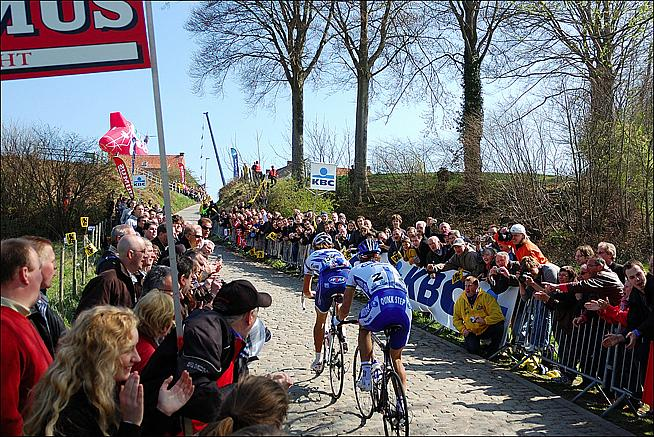 Filippo Pozzato and Tom Boonen tackle the cobbles on the Tour of Flanders. Photo: Chris Tank/ctankcycles - http://tinyurl.com/nvkc7jk