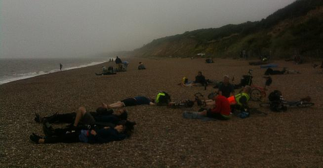Riders recover on the beach at Dunwich in the early morning