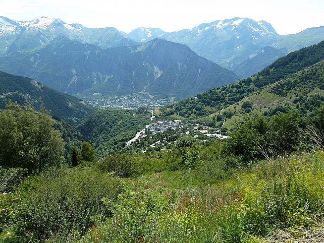 The view from the top of Alpe d'Huez down the mountain