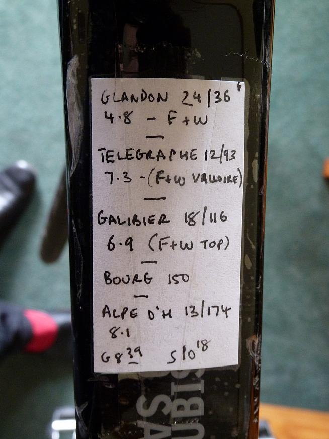 Ride plan pasted to the top tube for the Marmotte.