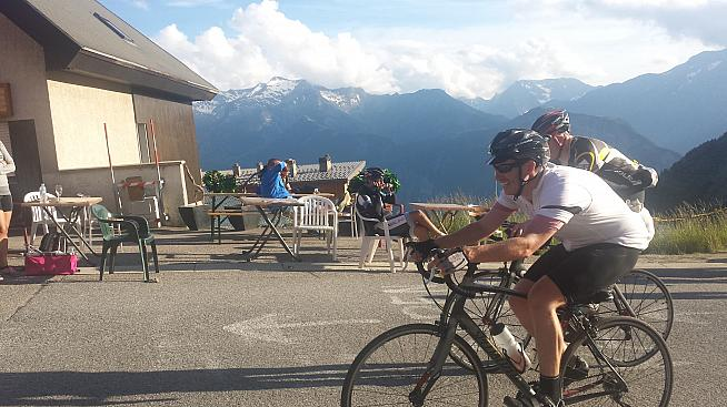 Dan McCausland races through the village of Alpe d'Huez to the finish line of the Marmotte.