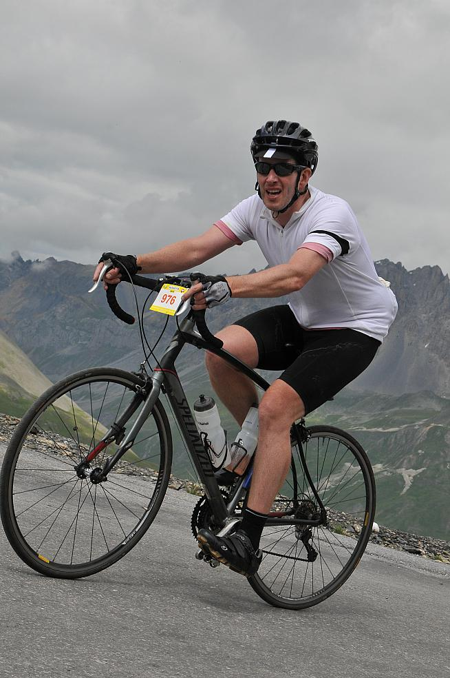 Dan McCausland rides up the Galibier (photograph: Photo Breton)