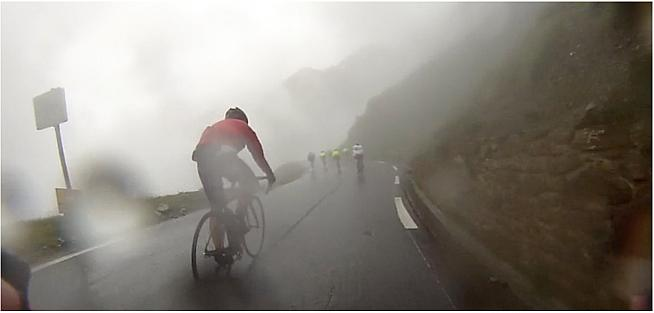 Stills from video I recorded along the way show the treacherous conditions at the top of the Tourmalet.