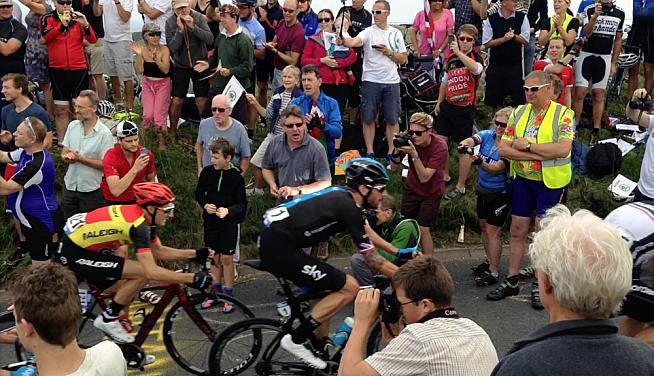 Bradley Wiggins reaches the summit of Ditchling Beacon on the 2014 Tour of Britain. Photo: Oisin Sands