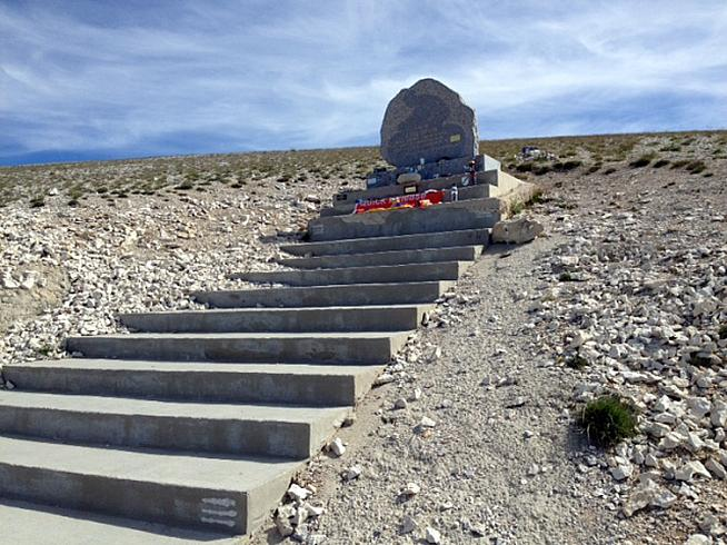 The Tom Simpson memorial at 1km from the summit.