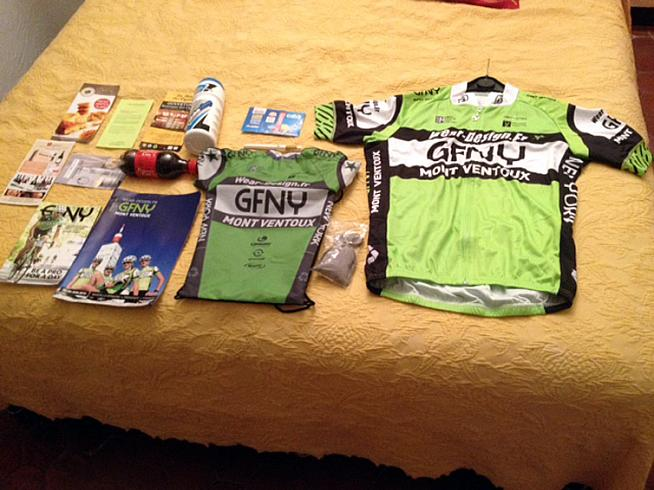 Hotel bed spread - the GFNY Mont Ventoux goodybag.