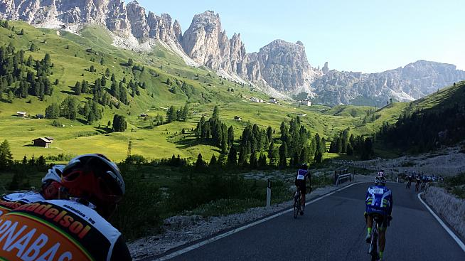 Riding through the Passo Gardena