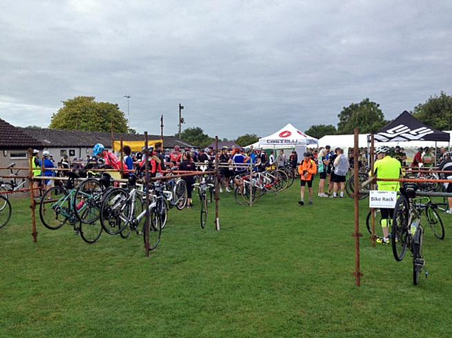 Bikes chatting amongst themselves ahead of the ride.
