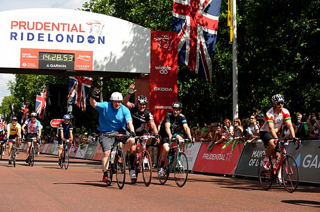 New PM Boris Johnson finishing RideLondon in 2015.