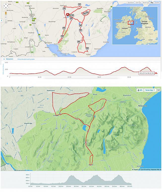 Official route (top) vs the actual route. Organisers shortened the course to 40 miles due to adverse weather.