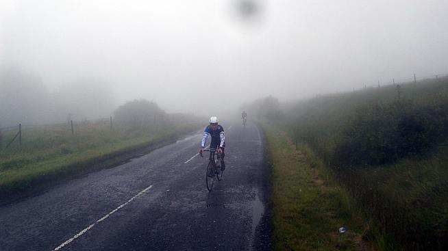 Rolling through the mist near Spelga Dam.