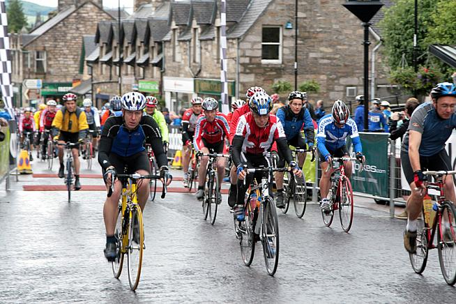 Riders set out from Pitlochry on the Etape Caledonia.