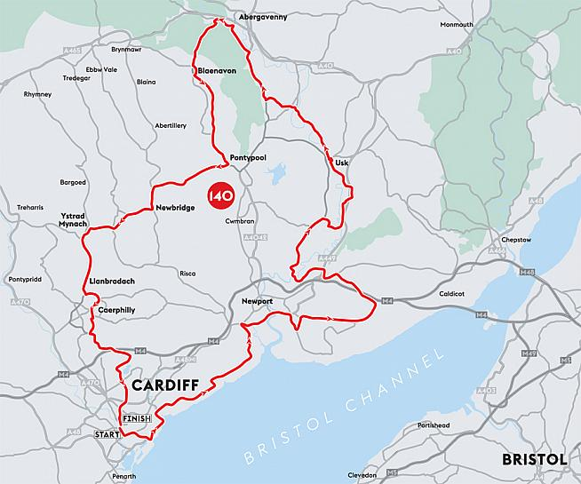 The route map for Velothon Wales 2016.