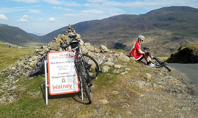 A well earned rest at the summit of Hardknott.