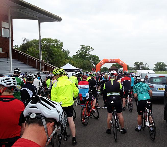 The start line for the Taunton Flyer at Taunton racecourse.