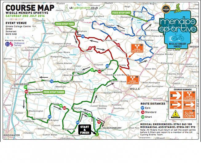 Course map for the Wiggle Mendips Sportive.