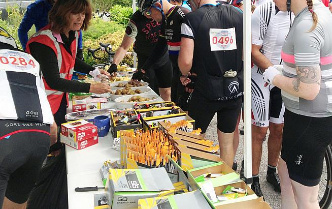 Sportives typically provide feed stops - and managing your nutrition strategy is key on a long ride.
