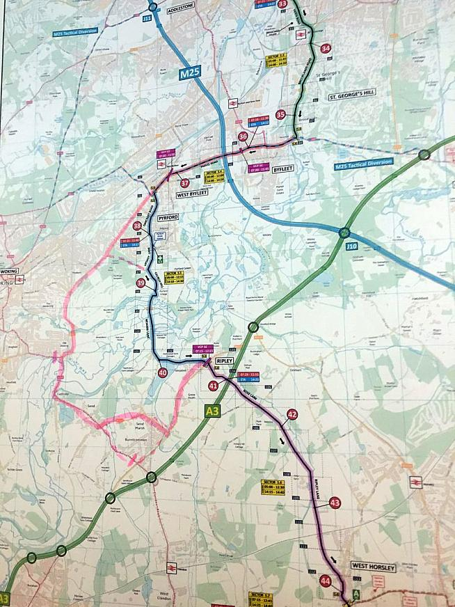 Map issued by RideLondon organisers on Twitter showing course diversions in pink.