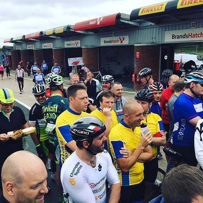 Pre race briefing at the Scrutineers Garage.