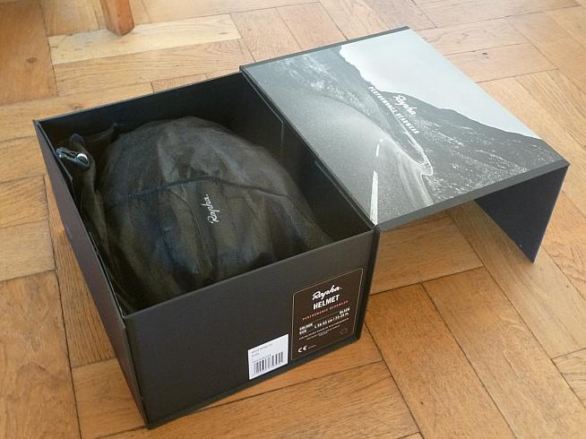 The helmet is packaged in the usual Rapha style