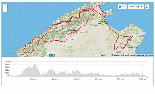 The new route and profile for the 2016 Mallorca 312 - it's been changed slightly for 2017.