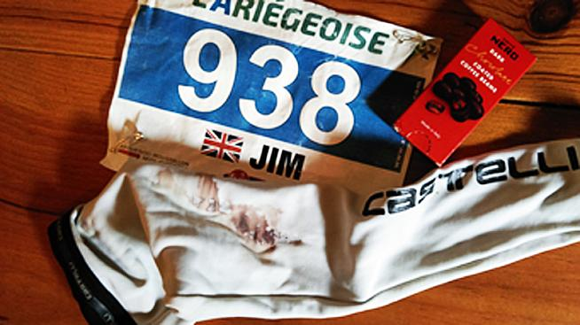 Battered bib and bloodied arm warmers.