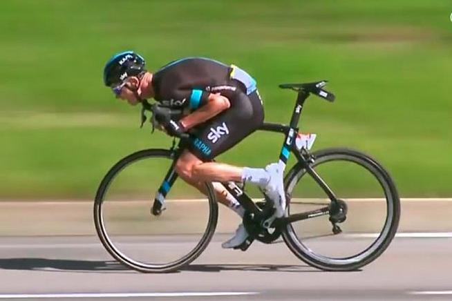 Froome goes full aero en route to winning stage 8 at this year's Tour de France.