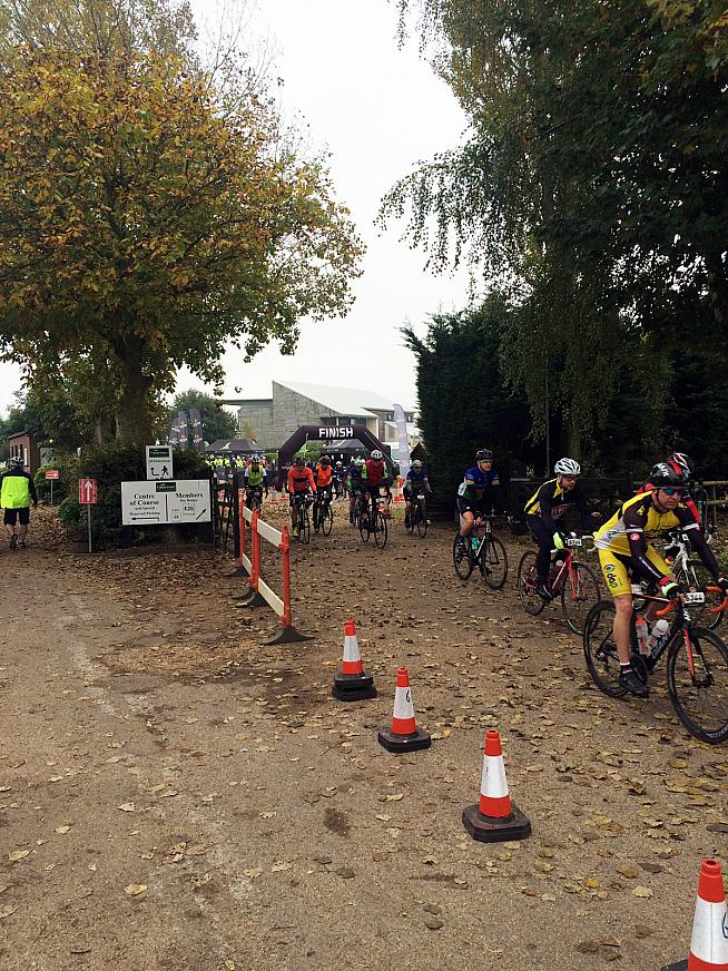 Riders roll out from Fakenham racecourse to begin the Royal Flyer Sportive.