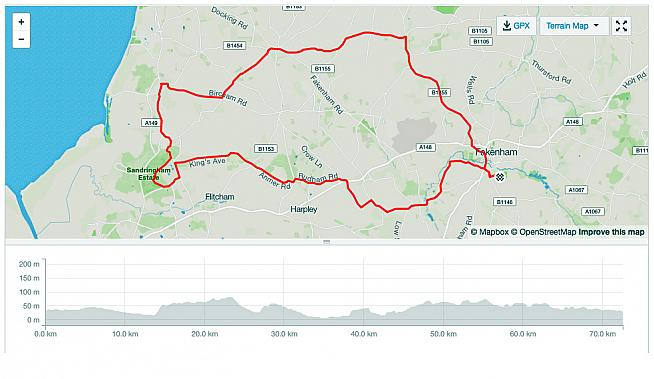 The 72km standard route takes in scenic Norfolk lanes and villages.