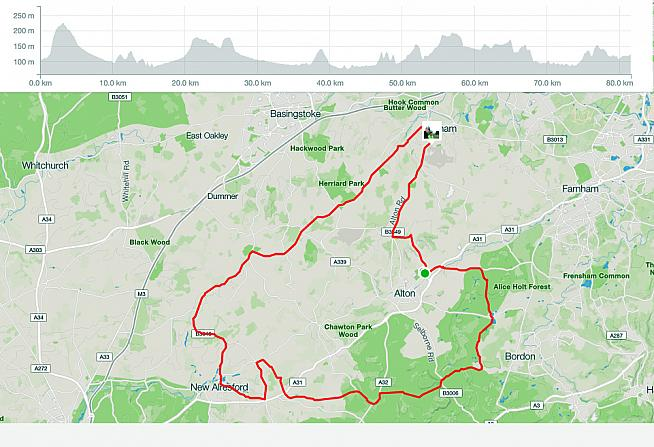 Route and profile for the Wiggle Devils Punch Sportive.