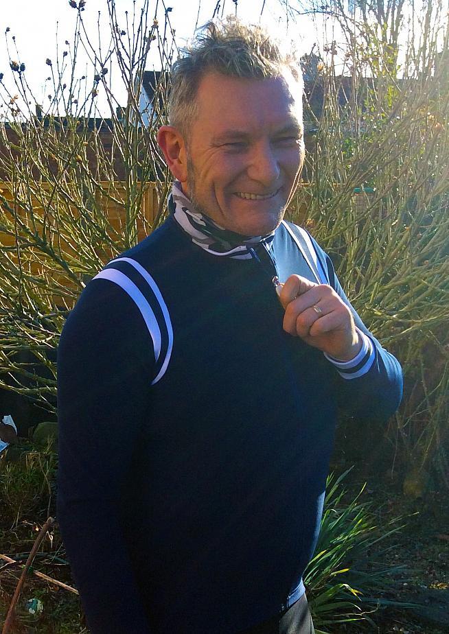 Zipping up for the sponsors after winning the Tour de Garden.