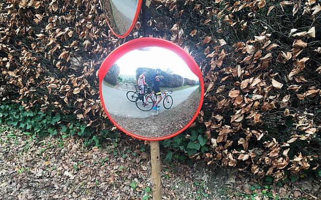 Roadie vanity mirrors along the route. UKCE think of everything.