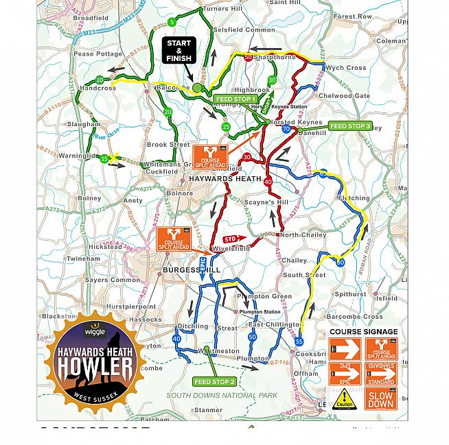 Routes for the Haywards Heath Howler. Yellow shows overlap with Burgess Hill Springtime Classic.