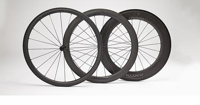 Parcours' three wheelsets - the Grimpeur  Passista and Chrono.