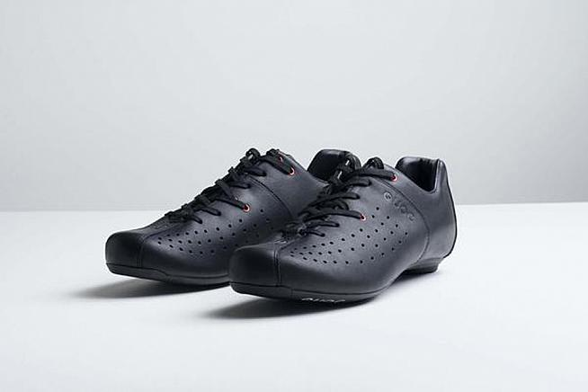 The Night Black Leather shoe features carbon soles and leather uppers.