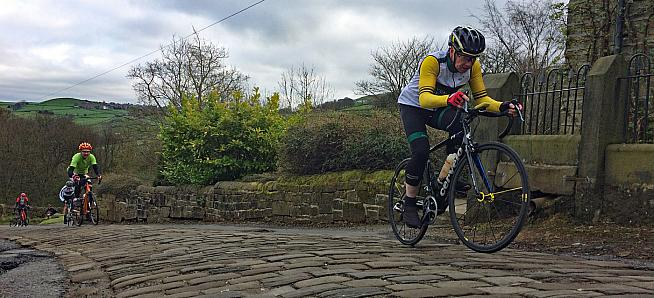 The first cobbled climb.