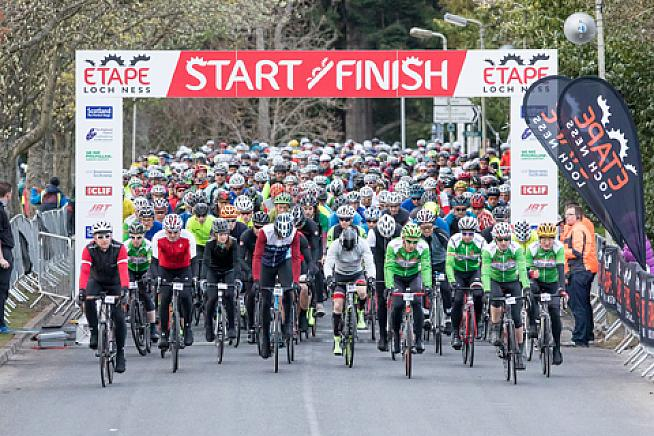 Riders line up for the start of the 2017 Etape Loch Ness.