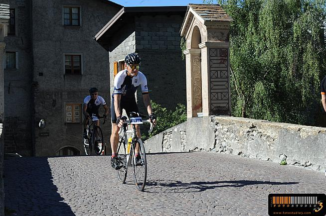 The author's father Peter passing through Bormio.