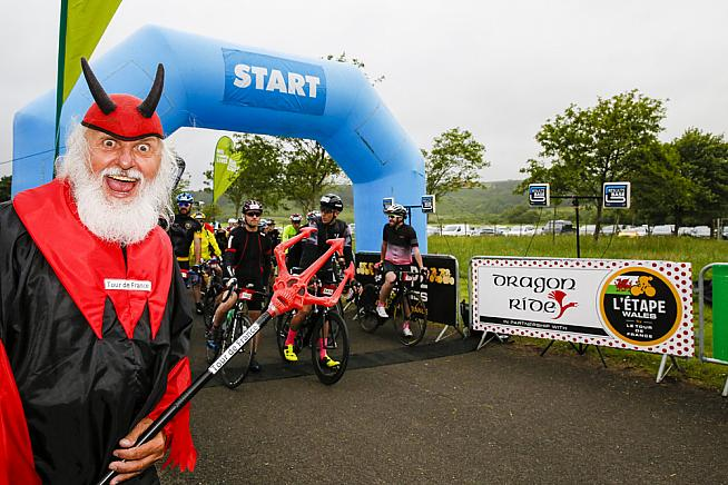 Didi the Devil was on hand to cheer riders up the Devil's Elbow climb.