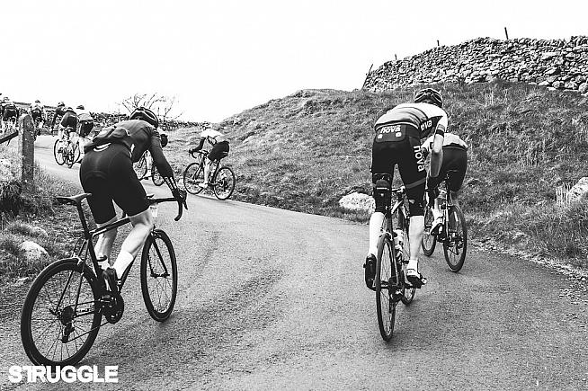 Riders battle up Park Rash on this year's Struggle Dales sportive.