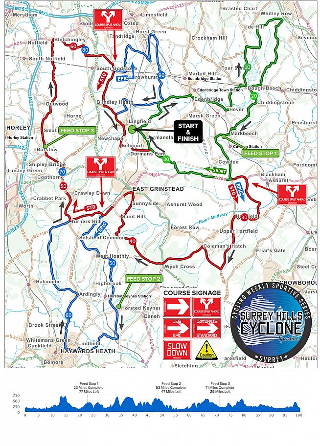The Surrey Hills Cyclone route features a savoury selection of hills in three counties.