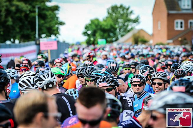 Busy scenes at the start in Peterborough.