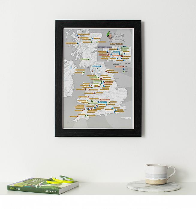 Win a framed UK Cycling Climbs print and chart your uphill progress.