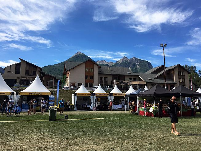 The event village in Briancon on Saturday morning.