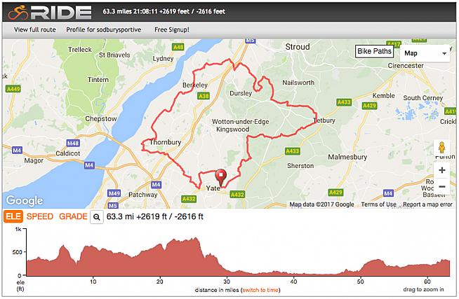 The 60-mile route is the mid-length option on the Saddleback Sodbury Sportive.