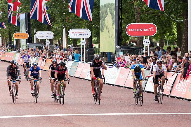 Riders cross the finish line on the Mall at RideLondon 017. Photo: Alistair Cunningham