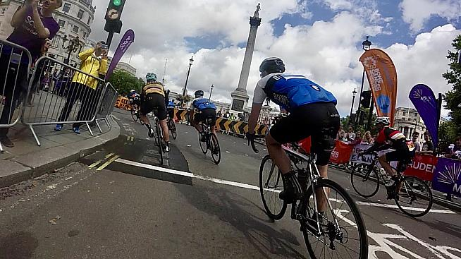 Trafalgar Square and the last turn before the finishing straight.