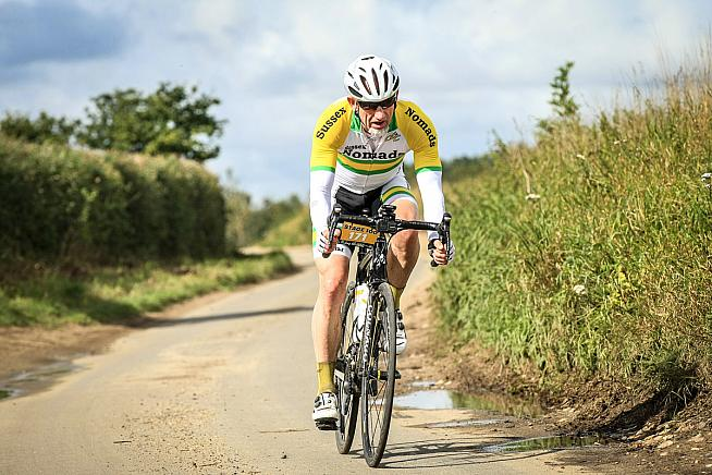 Dave tackles the strade bianchi of the Tour de Norfolk. Credit: SportivePhoto