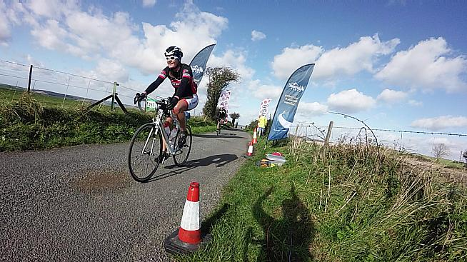 Cresting the summit of Butser Hill on the Wiggle South Downs 100..