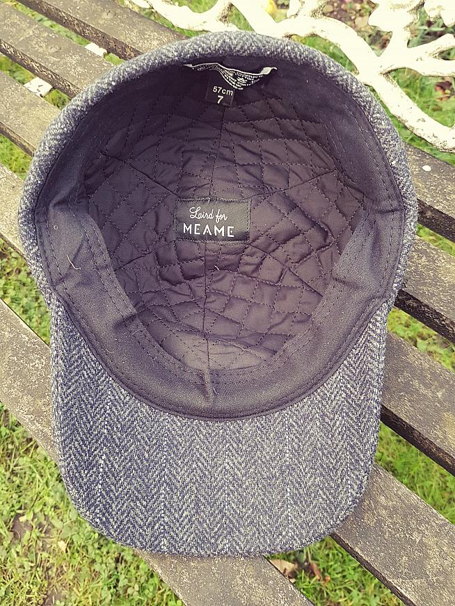 The inside of the MEAME tweed cap